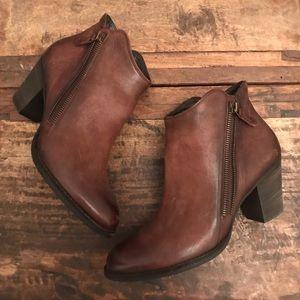 Paul Green Aubrey brown leather zipper booties
